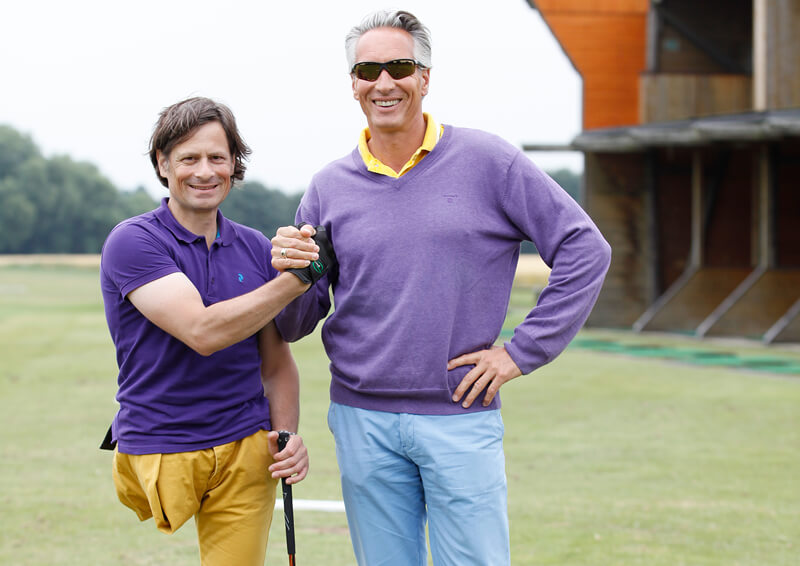 Thomas Frey und Golftrainer Mario Majchszak 2013.